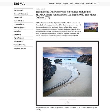 Sigma Imaging UK article - Marco Dadone Lea Tippet - 2019